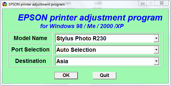 Adjustment Program for Epson R220 and Epson R230