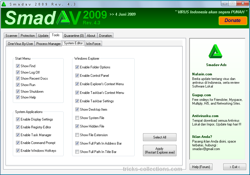 Download SmadAV antivirus. This software available for free for all