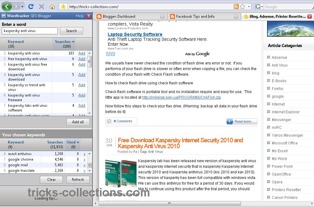 Wordtracker Firefox Addons – SEO Tools for Blogger | Tricks