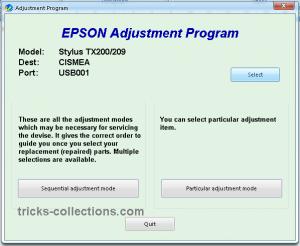 adjustment epson tx200