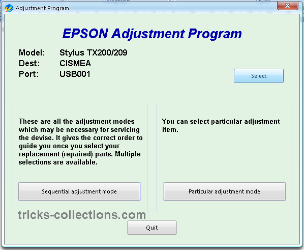 Download the software Resetter Epson TX200 or Adjustment Program Epson
