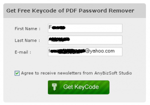 get license code PDF password remover form