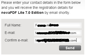 novaPDF Lite 7 registration form