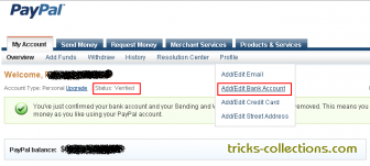 Add Bank Account to Verify Paypal