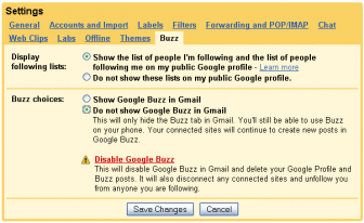 Google Buzz setting
