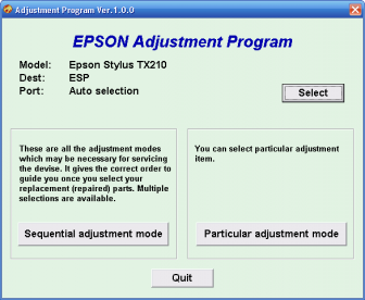 adjustment program epson TX210