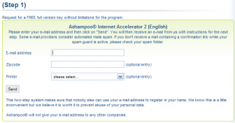 Ashampoo Internet Accelerator Registration Form