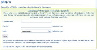 Ashampoo Internet Accelerator Registration Form