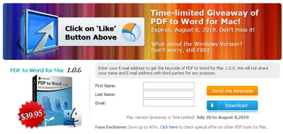AnyBizSoft PDF to Word for Mac License Code registration form