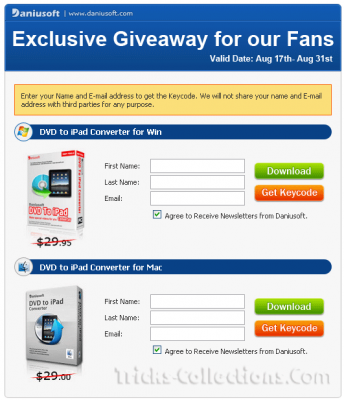 Daniusoft DVD to iPad Converter giveaway form