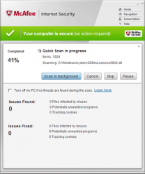 McAfee Internet Security Scan In Progress
