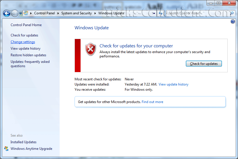 how to close windows 7 update