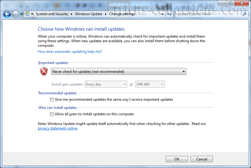 How to change automatic updates for windows 7 version of windows installer service