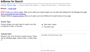 Get adsense search code 2