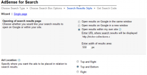 Get adsense search code 4