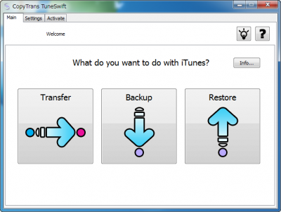CopyTrans TuneSwift Main Windows