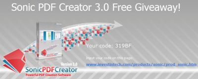 Sonic PDF Creator Free Giveaway