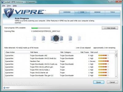 Vipre Antivirus Scan Progress
