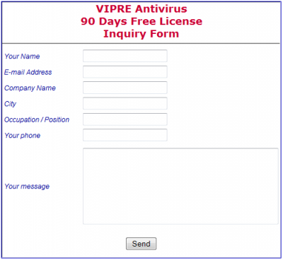 vipre antivirus registration form