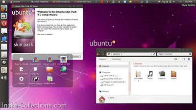 Ubuntu Skin Pack - Make Win 7 Desktop Like Ubuntu