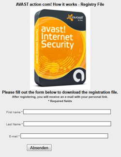 Avast Internet Security Registration Form
