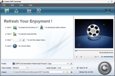 Leawo 3GP Converter Main Windows
