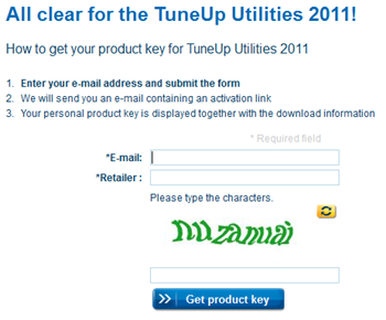 TuneUp Utilities 2011 Registration Page