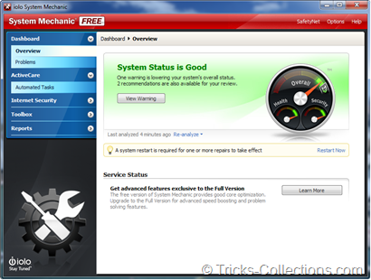 iolo System Mechanic Free Main Windows