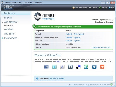 Outpost Security Suite Free Edition