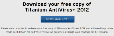 Titanium Antivirus 2012 free for 1 year