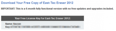 East-Tec Eraser 2012 License Key