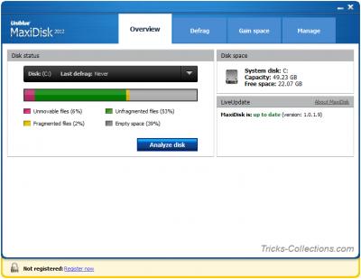 Uniblue MaxiDisk 2012 Overview