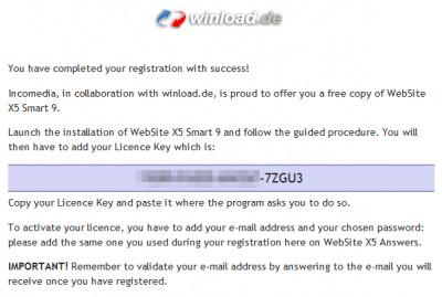 Website X5 License Key