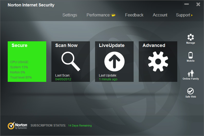 Norton Internet Security full screenshot