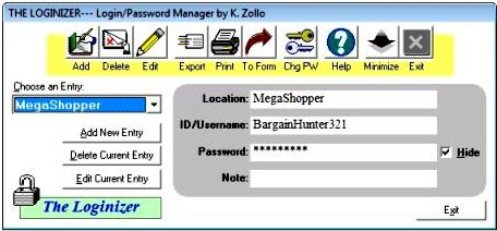 The Loginizer 1.0 Free Password Manager