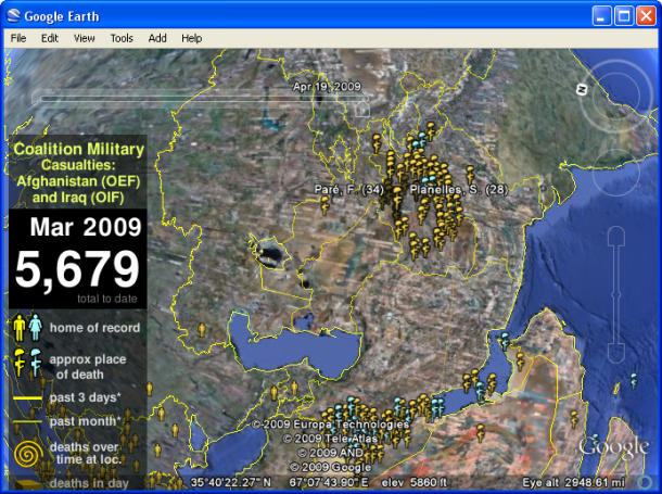 Commemorate the Fighter War Victims Afghanistan - Iraq with Layer Map the Fallen on Google Earth