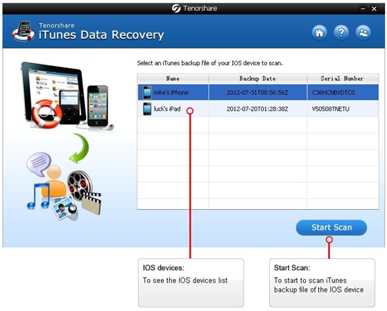 Tenorshare iTunes Data Recovery - Extract iPhone, iPad, iPod Data from iTunes Backup File