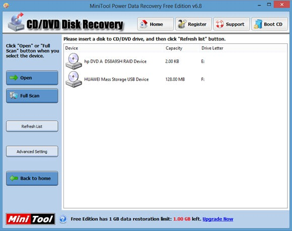 Screenshots MiniTool Power Data Recovery free edition 6.8