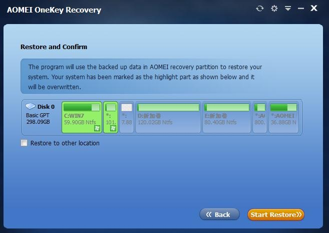 AOMEI OneKey Recovery Tool