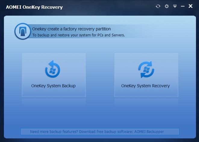 Create a Factory Restore Partition and One Key Backup System with Aomei OneKey Recovery