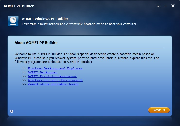 AOMEI PE Builder - Free Bootable Environment Creator