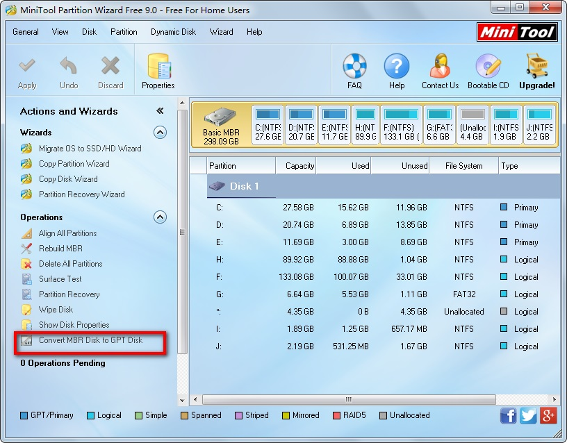 Convert Disk Format - MiniTool Partition Wizard Free 9.0 - Free For Home Users
