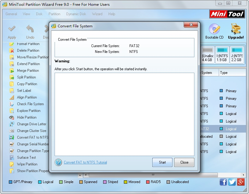 Convert File System - MiniTool Partition Wizard Free 9.0 - Free For Home Users