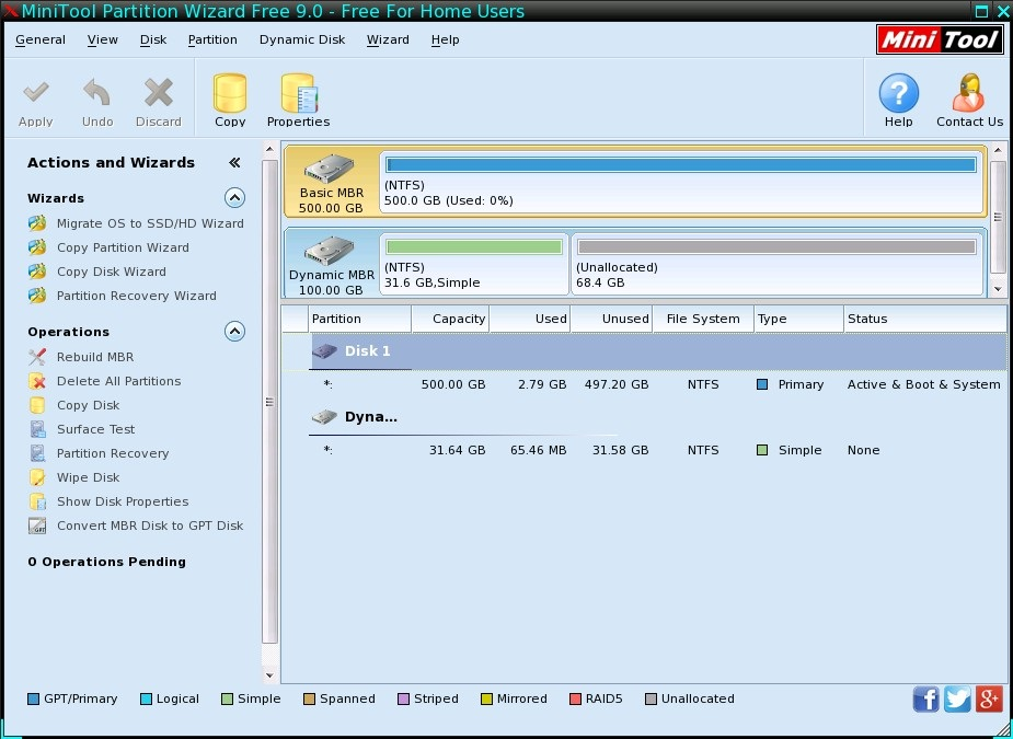 Interface - MiniTool Partition Wizard Free 9.0 - Free For Home Users