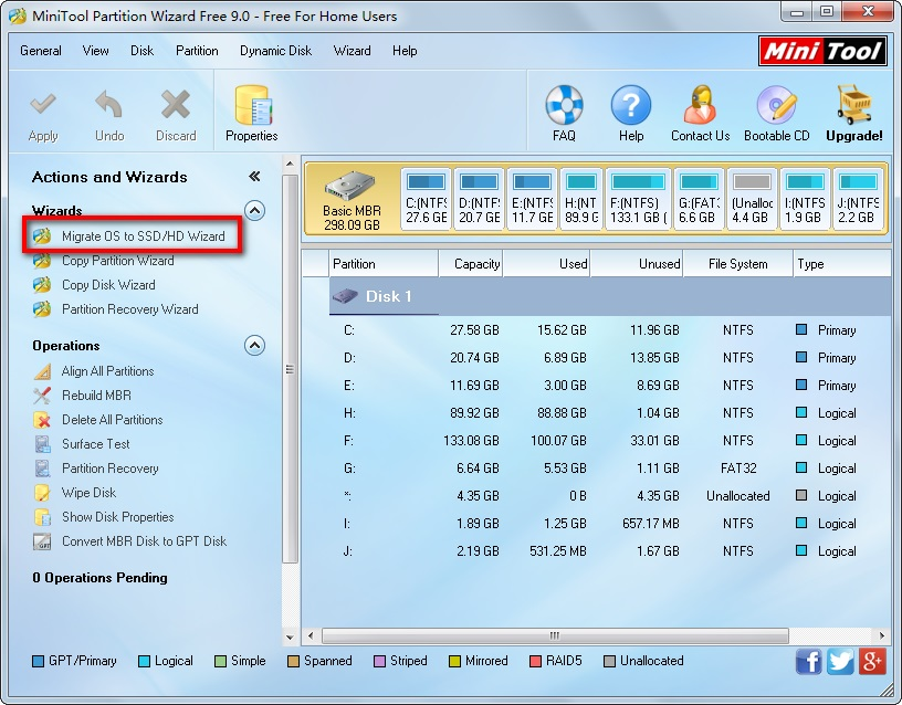 Migrate OS to HD,SSD - MiniTool Partition Wizard Free 9.0 - Free For Home Users