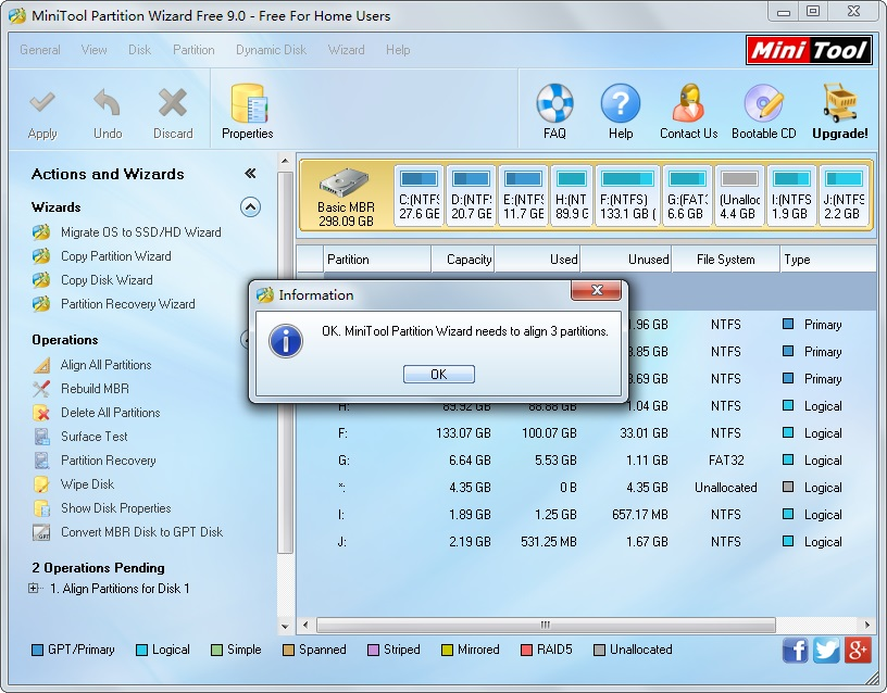 MiniTool Partition Wizard Free 9.0 - Free For Home Users
