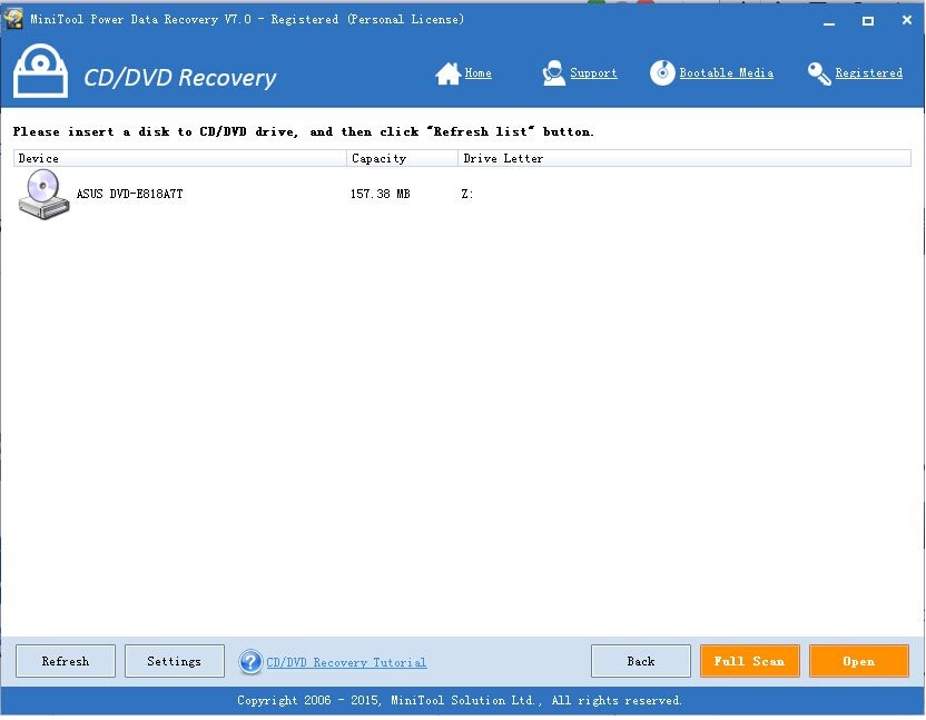 CD, DVD Recovery - MiniTool Power Data Recovery 7.0 Personal