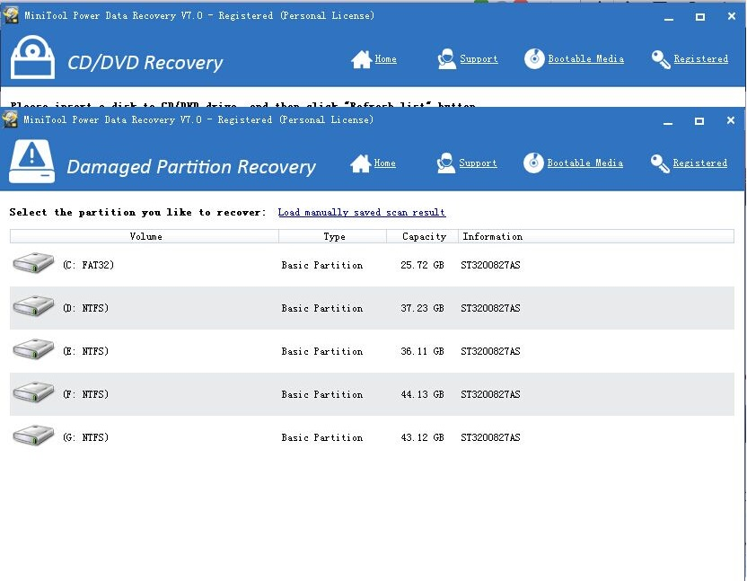 Damaged Partition Recovery - MiniTool Power Data Recovery 7.0 Personal
