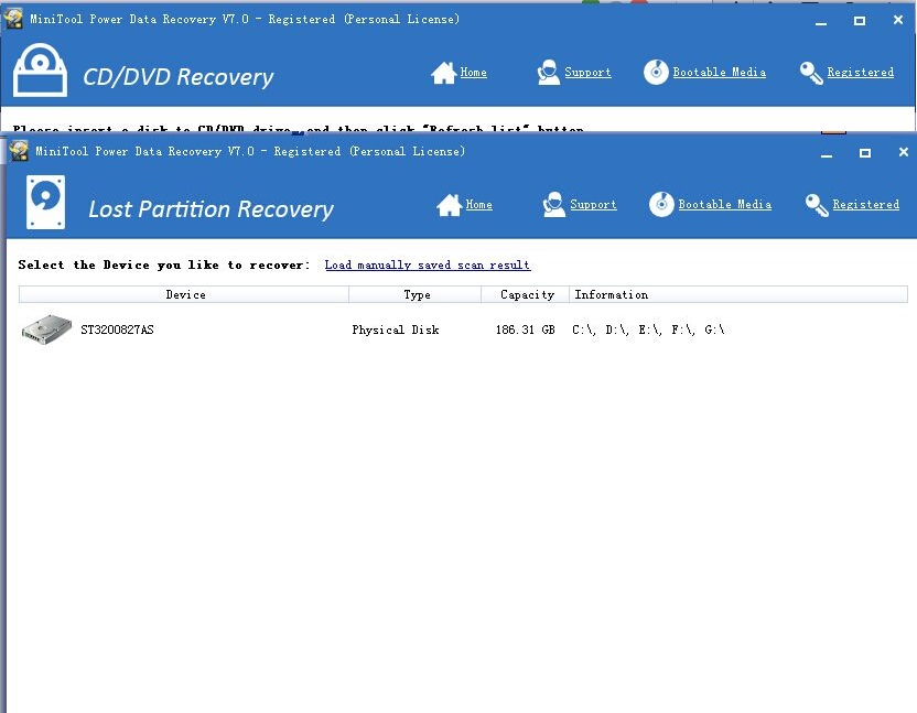 Lost Partition Recovery - MiniTool Power Data Recovery 7.0 Personal