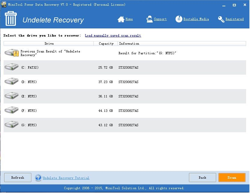 Undelete Recovery - MiniTool Power Data Recovery 7.0 Personal